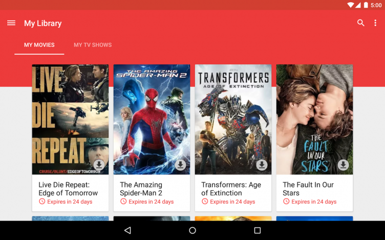 Google Play movies on tablets