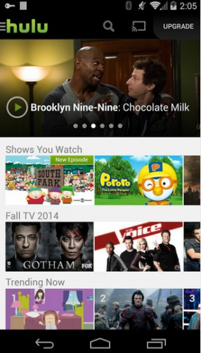 Hulu Plus TV offerings on Android smartphone
