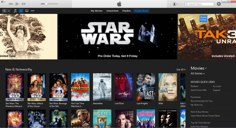 iTunes movie selection