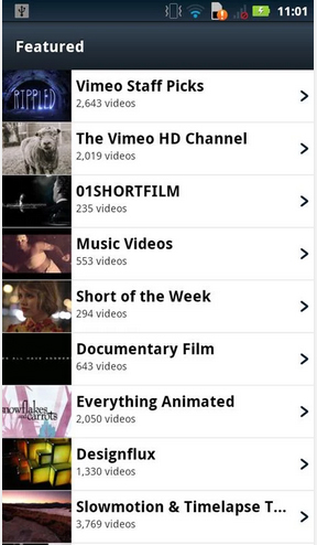 Vimeo content selection on Android
